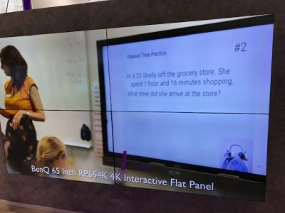 Image of 65 inch BenQ RP654K Interactive Flat Panel Video Wall on display at Bett 2019