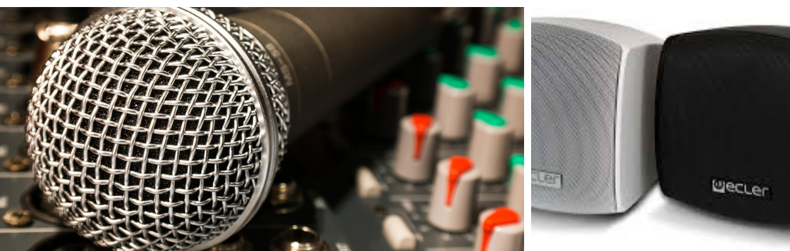 header image representing audio solutions including mic, amplifier and speakers